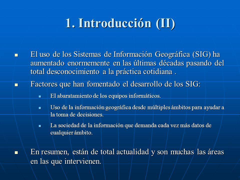 1. Introducción (II) El uso de los Sistemas de Información Geográfica (SIG) ha aumentado enormemente en las últimas décadas pasando del total desconoc