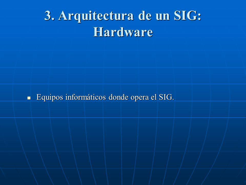3. Arquitectura de un SIG: Hardware Equipos informáticos donde opera el SIG. Equipos informáticos donde opera el SIG.