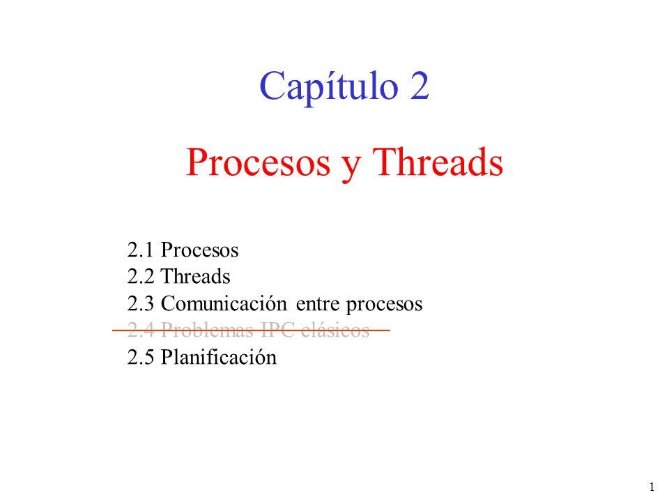 1 Procesos y Threads Capítulo 2 2.1 Procesos 2.2 Threads 2.3 Comunicación entre procesos 2.4 Problemas IPC clásicos 2.5 Planificación