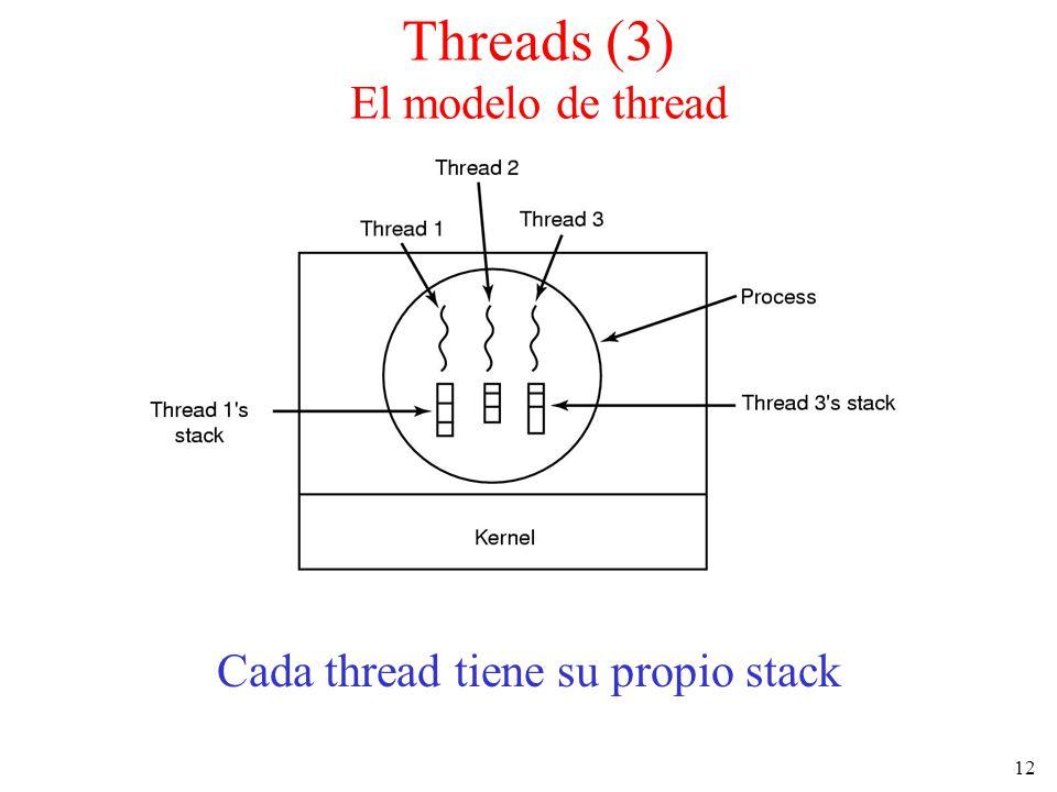 12 Cada thread tiene su propio stack Threads (3) El modelo de thread