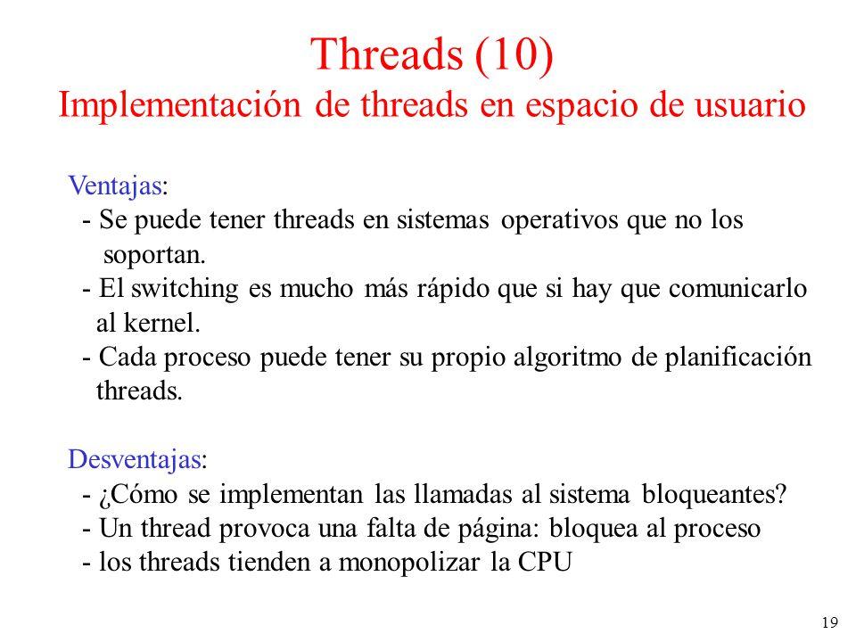 19 Threads (10) Implementación de threads en espacio de usuario Ventajas: - Se puede tener threads en sistemas operativos que no los soportan. - El sw
