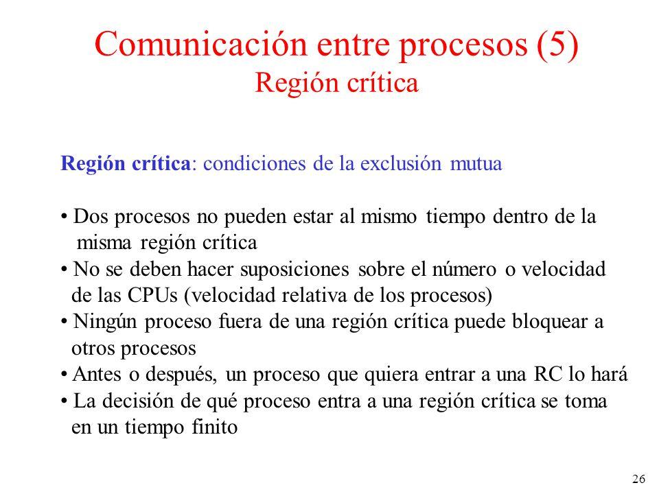 26 Región crítica: condiciones de la exclusión mutua Dos procesos no pueden estar al mismo tiempo dentro de la misma región crítica No se deben hacer