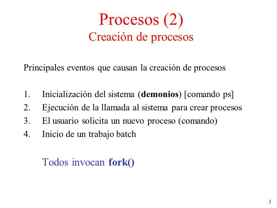 3 Procesos (2) Creación de procesos Principales eventos que causan la creación de procesos 1.Inicialización del sistema (demonios) [comando ps] 2.Ejec
