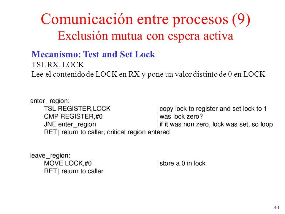 30 Mecanismo: Test and Set Lock TSL RX, LOCK Lee el contenido de LOCK en RX y pone un valor distinto de 0 en LOCK Comunicación entre procesos (9) Excl