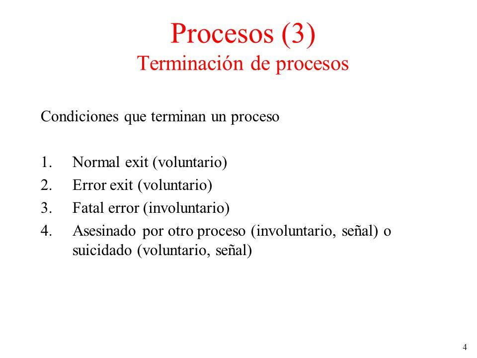 4 Condiciones que terminan un proceso 1.Normal exit (voluntario) 2.Error exit (voluntario) 3.Fatal error (involuntario) 4.Asesinado por otro proceso (