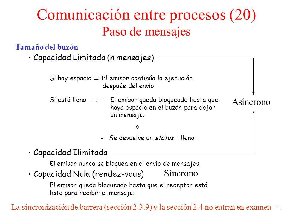 41 Tamaño del buzón Capacidad Limitada (n mensajes) Si hay espacio El emisor continúa la ejecución después del envío Si está lleno - El emisor queda b