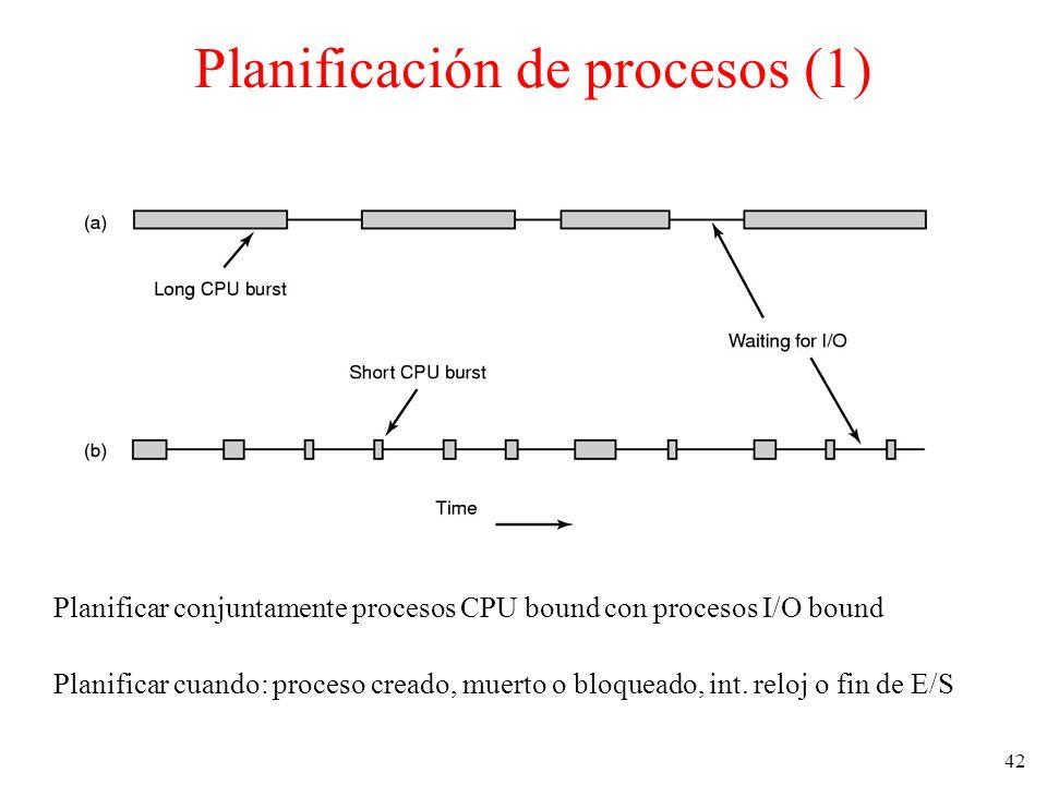 42 Planificación de procesos (1) Planificar conjuntamente procesos CPU bound con procesos I/O bound Planificar cuando: proceso creado, muerto o bloque