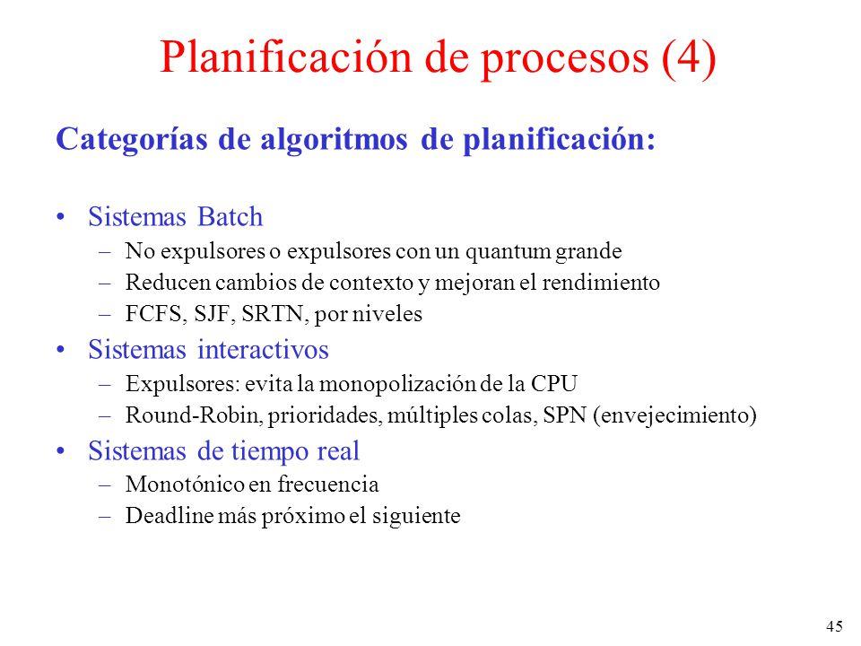 45 Planificación de procesos (4) Categorías de algoritmos de planificación: Sistemas Batch –No expulsores o expulsores con un quantum grande –Reducen