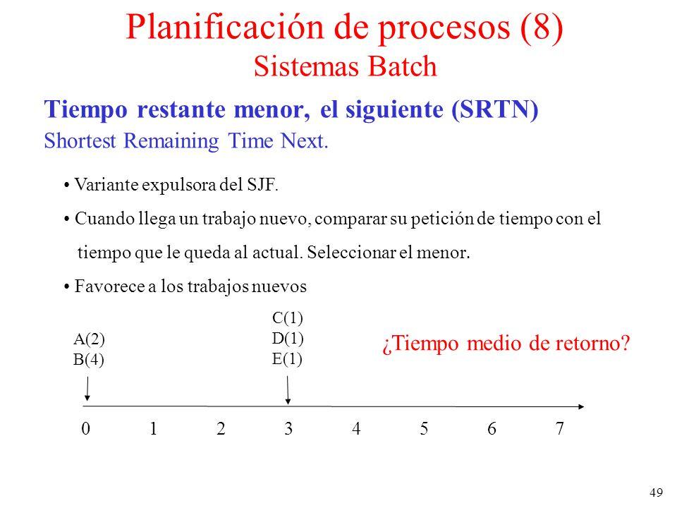 49 Tiempo restante menor, el siguiente (SRTN) Shortest Remaining Time Next. Variante expulsora del SJF. Cuando llega un trabajo nuevo, comparar su pet