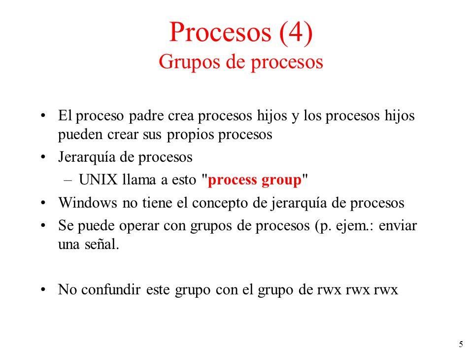 5 El proceso padre crea procesos hijos y los procesos hijos pueden crear sus propios procesos Jerarquía de procesos –UNIX llama a esto