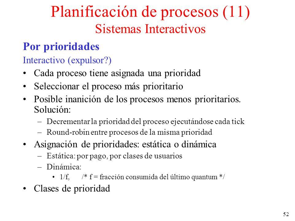 52 Por prioridades Interactivo (expulsor?) Cada proceso tiene asignada una prioridad Seleccionar el proceso más prioritario Posible inanición de los p
