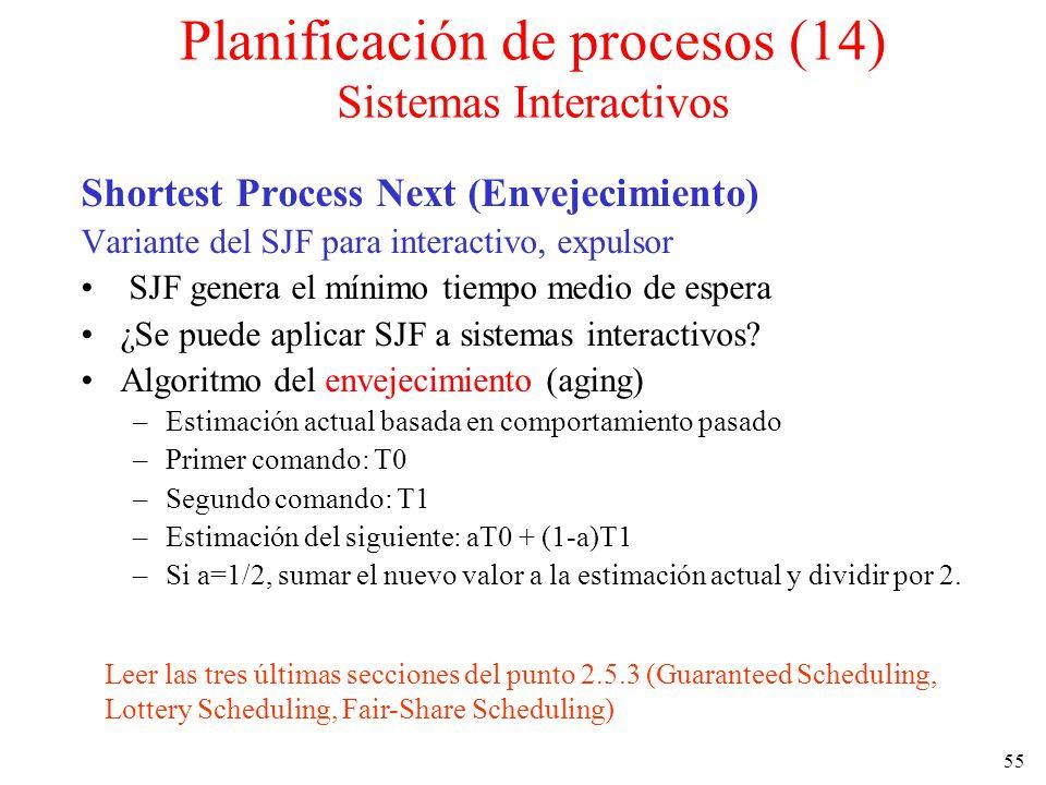 55 Shortest Process Next (Envejecimiento) Variante del SJF para interactivo, expulsor SJF genera el mínimo tiempo medio de espera ¿Se puede aplicar SJ