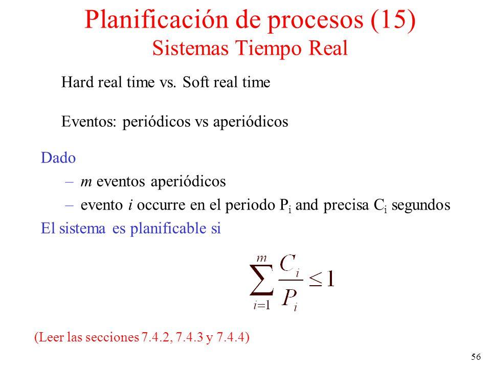 56 Planificación de procesos (15) Sistemas Tiempo Real Dado –m eventos aperiódicos –evento i occurre en el periodo P i and precisa C i segundos El sis