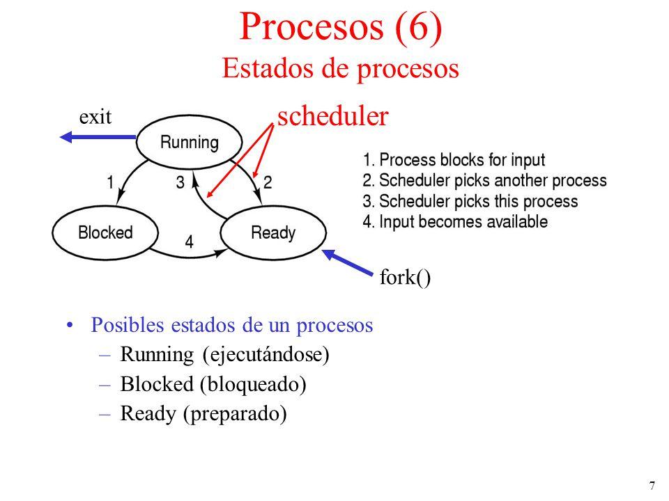 7 Procesos (6) Estados de procesos Posibles estados de un procesos –Running (ejecutándose) –Blocked (bloqueado) –Ready (preparado) scheduler fork() ex