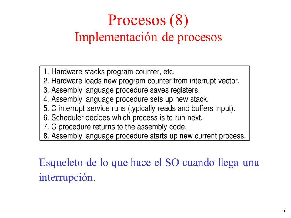 9 Esqueleto de lo que hace el SO cuando llega una interrupción. Procesos (8) Implementación de procesos