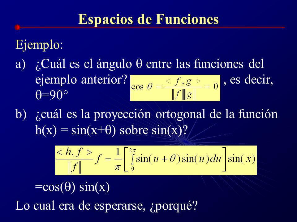 Espacios de Funciones Ejemplo: Para las funciones f(x) = sen(x), g(x)=cos(x), definidas en el intervalo [0,2 ] a)Producto interno: = 0, es decir, son