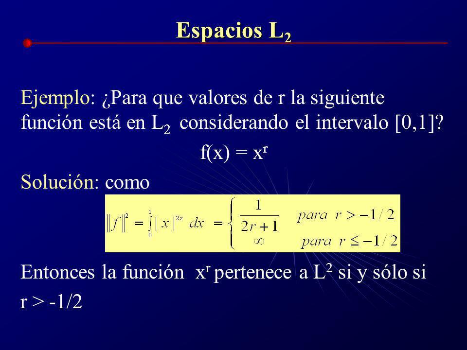 Espacios L 2 Las Normas l p definidas para vectores en R se transforman en las normas L p que se definen para una función f(x) en el intervalo [a,b]co