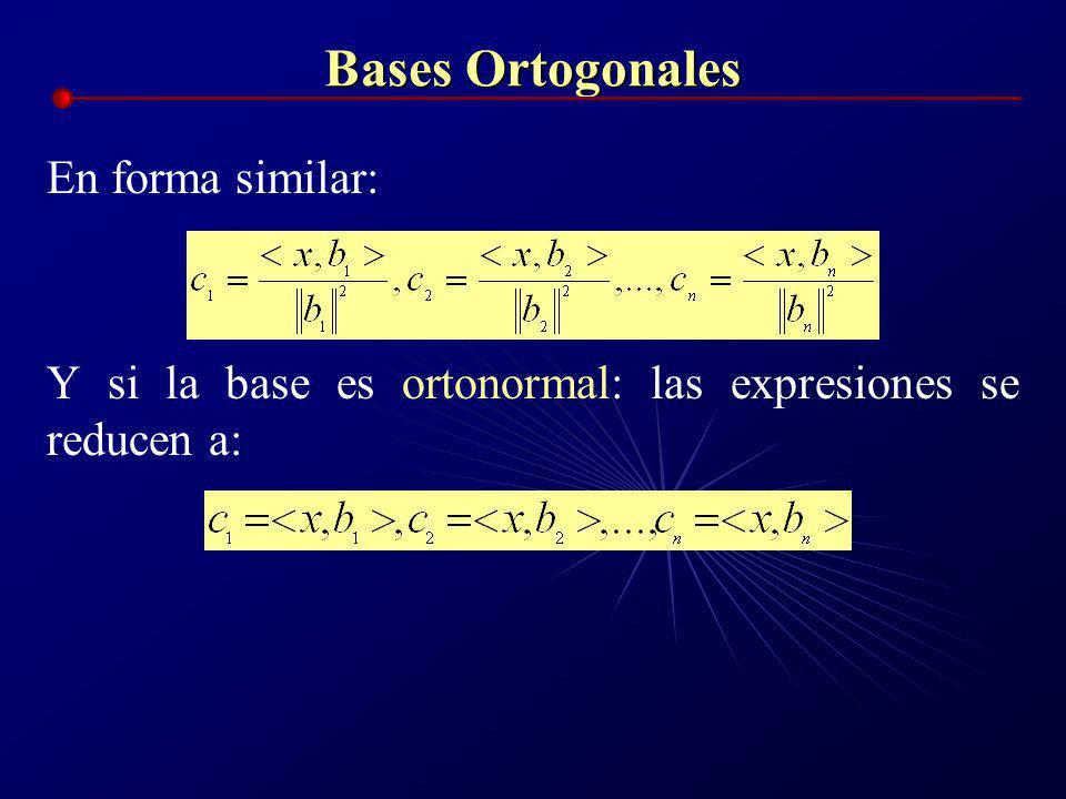 Bases Ortogonales Sea por ejemplo {b 1,b 2,b 3,...b n } una base de R n, y sea x=[x 1,x 2,x 3,...,x n ] un vector arbitrario en R n, entonces: x= c 1
