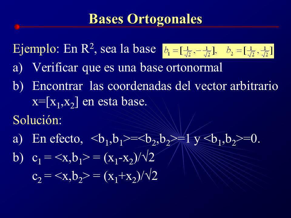 Bases Ortogonales En forma similar: Y si la base es ortonormal: las expresiones se reducen a: