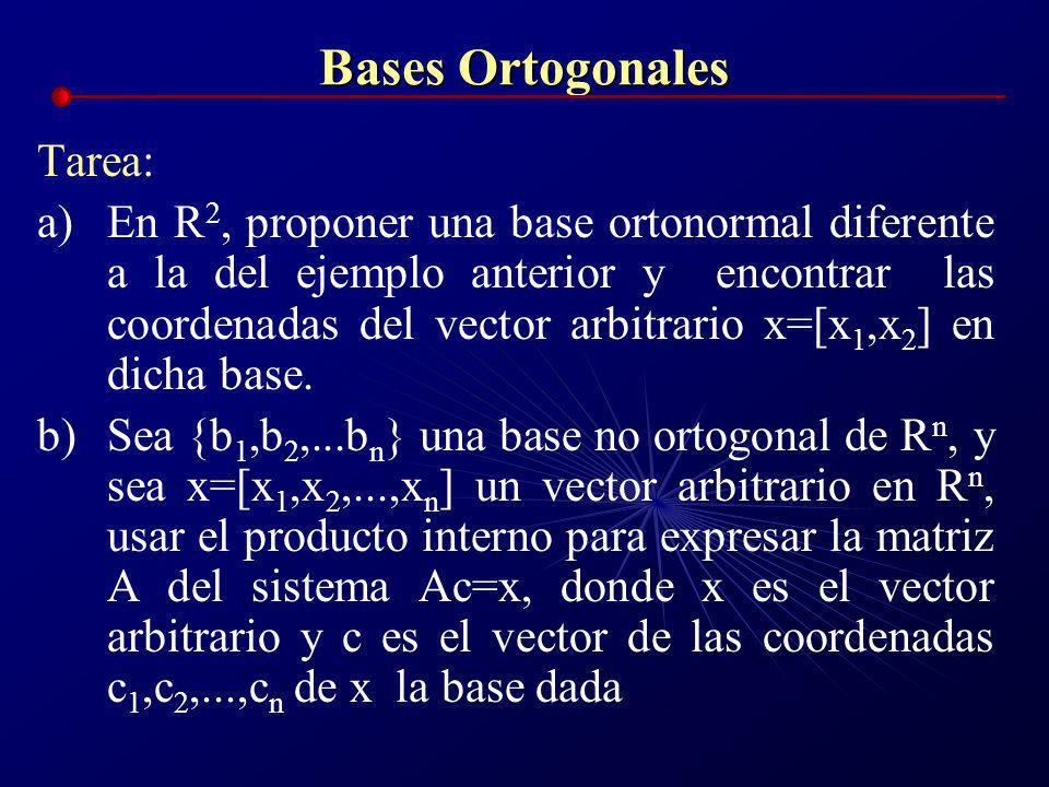 Bases Ortogonales Ejemplo: En R 2, sea la base a)Verificar que es una base ortonormal b)Encontrar las coordenadas del vector arbitrario x=[x 1,x 2 ] e