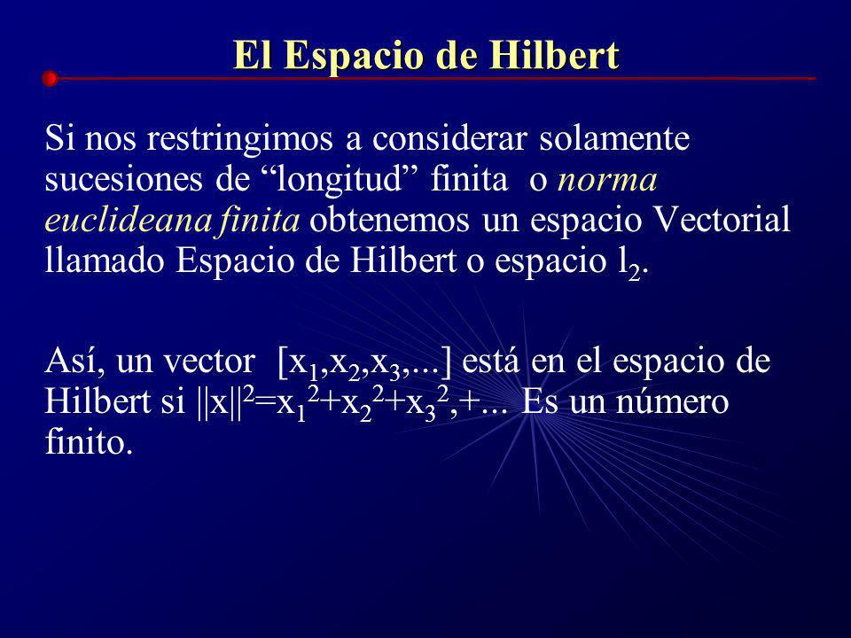 El Espacio de Hilbert El espacio R contiene las sucesiones de números reales de la forma: [x 1,x 2,x 3,...], por ejemplo: [0, 3, 6, 9, 12, 15,...] (su