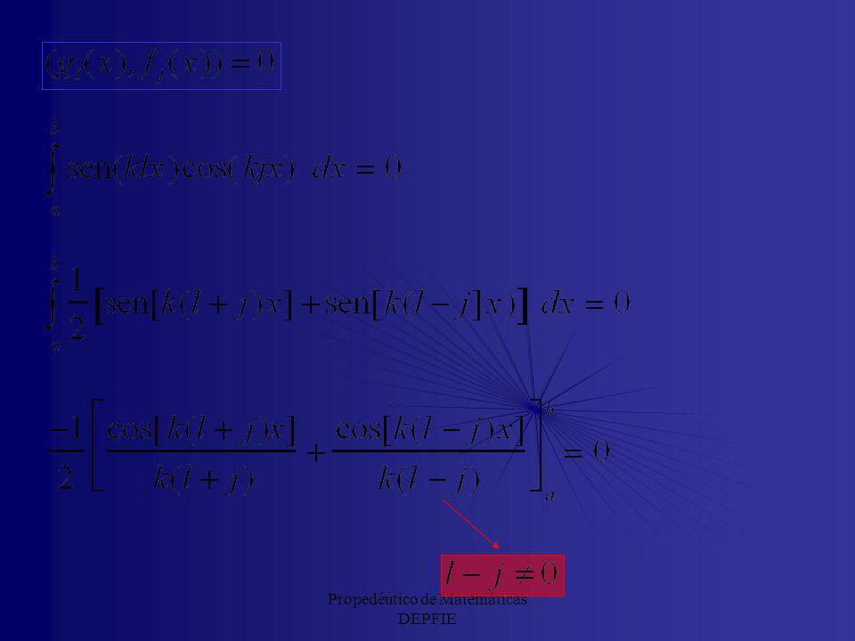 Propedéutico de Matemáticas DEPFIE La base {sen(klx), cos(klx)}: Series de Fourier Vamos a obtener una base ortogonal en el espacio vectorial de Hilbe