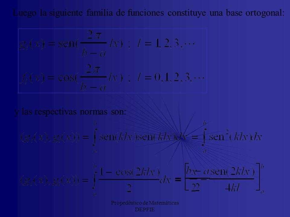 Para que se cumplan las anteriores relaciones de ortogonalidad: la condición que debe verificarse es: