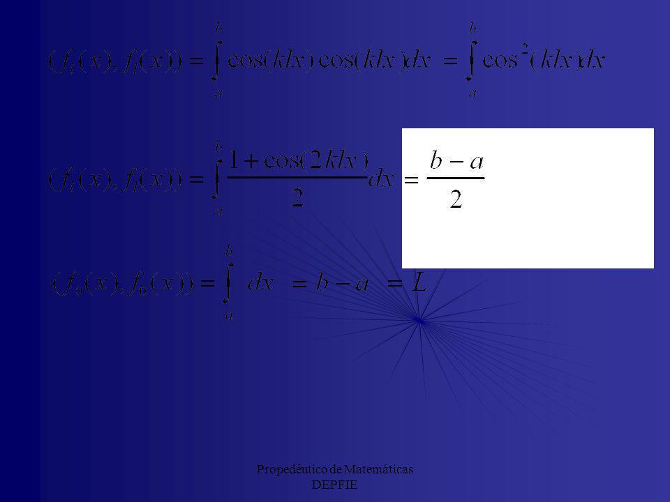 Propedéutico de Matemáticas DEPFIE Luego la siguiente familia de funciones constituye una base ortogonal: y las respectivas normas son: