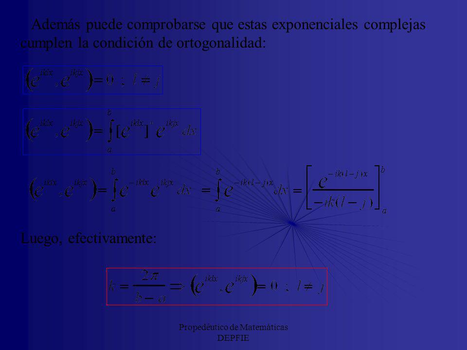 La base {exp(iklx)}: Teniendo en cuenta la fórmula de Euler: se ve que los elementos de la base ortogonal de senos y cosenos se pueden escribir en fun