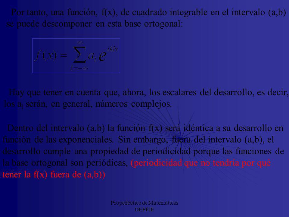 Propedéutico de Matemáticas DEPFIE Además el producto de una exponencial compleja por sí misma; es decir, la norma al cuadrado de una exponencial comp