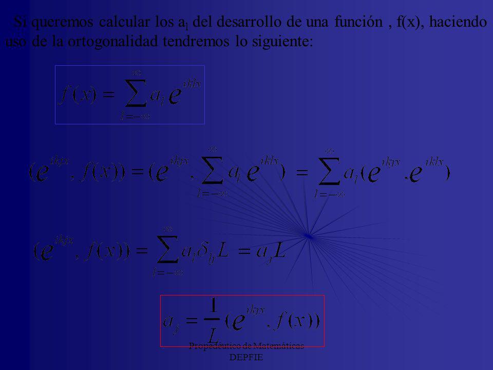 Propedéutico de Matemáticas DEPFIE Por tanto, una función, f(x), de cuadrado integrable en el intervalo (a,b) se puede descomponer en esta base ortogo