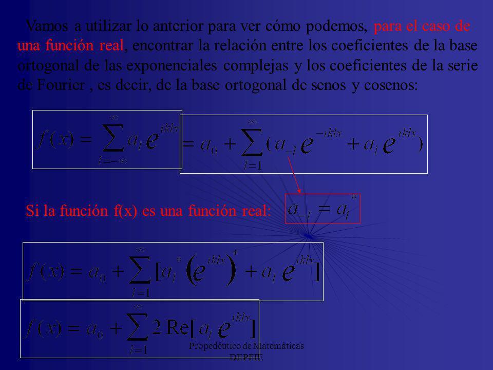 Propedéutico de Matemáticas DEPFIE Por tanto, si la función f(x) es una función real, tenemos: Pero, para cualquier función: Por tanto, si la función
