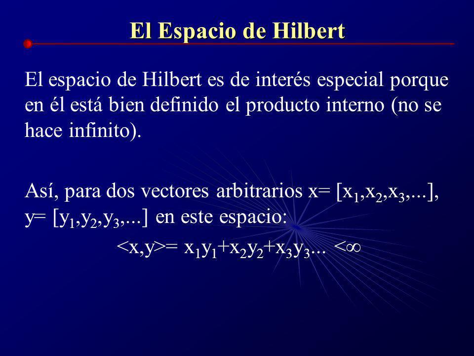El Espacio de Hilbert Tarea: Averiguar si la sucesión siguiente: [p, 2p, 3p, 4p,...] pertenece al espacio de Hilbert. Para ello, a)Sea S = p 2 +2p 2 +
