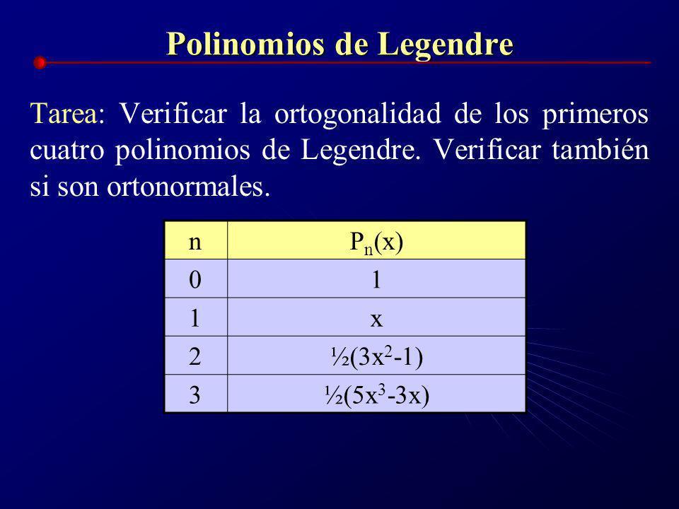 Polinomios de Legendre Los siguientes son los primeros 6 polinomios de Legendre nP n (x) 01 1x 2½(3x 2 -1) 3½(5x 3 -3x) 4 1 / 8 (35x 4 -30x 2 +3) 5 1