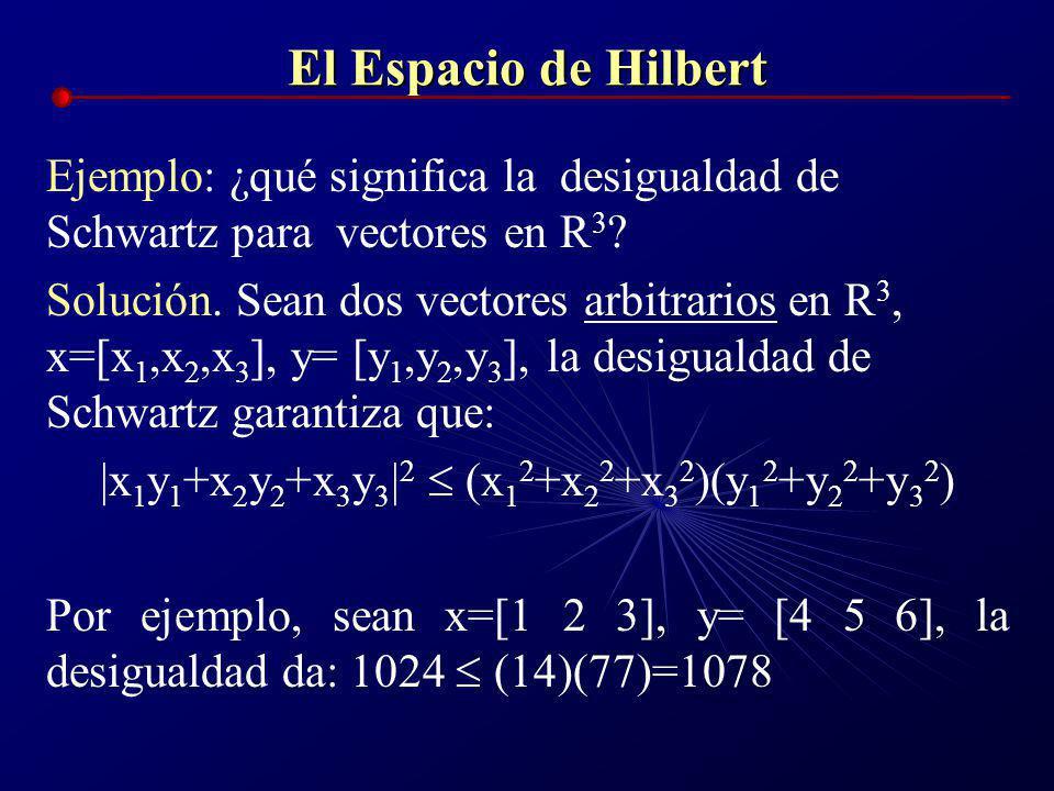 El Espacio de Hilbert De hecho, al igual que en todo espacio vectorial, se cumple la desigualdad de Schwartz-Cauchy: | | ||x|| ||y|| Y como x, y tiene