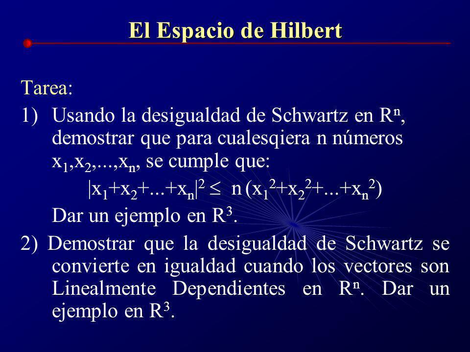 El Espacio de Hilbert Ejemplo: ¿qué significa la desigualdad de Schwartz para vectores en R 3 ? Solución. Sean dos vectores arbitrarios en R 3, x=[x 1