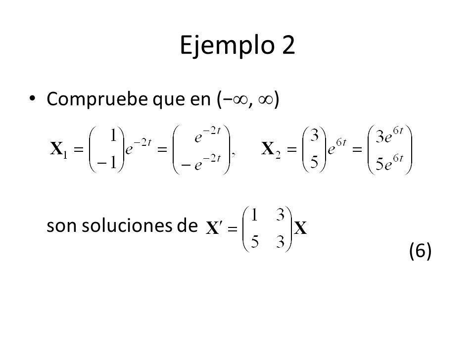 Ejemplo 2 Compruebe que en (, ) son soluciones de (6)