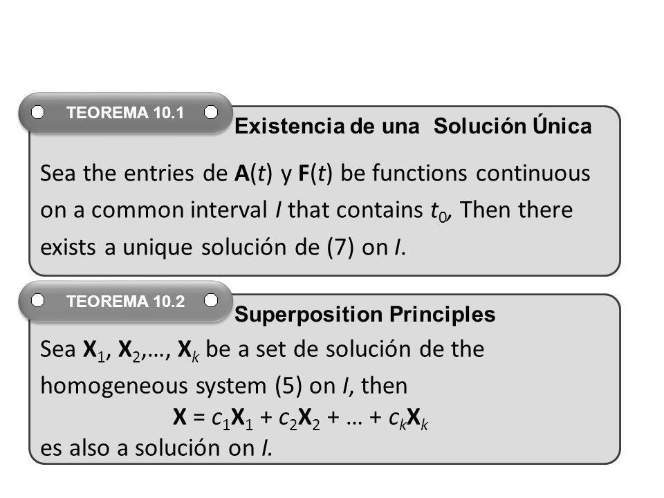 Sea the entries de A(t) y F(t) be functions continuous on a common interval I that contains t 0, Then there exists a unique solución de (7) on I. TEOR