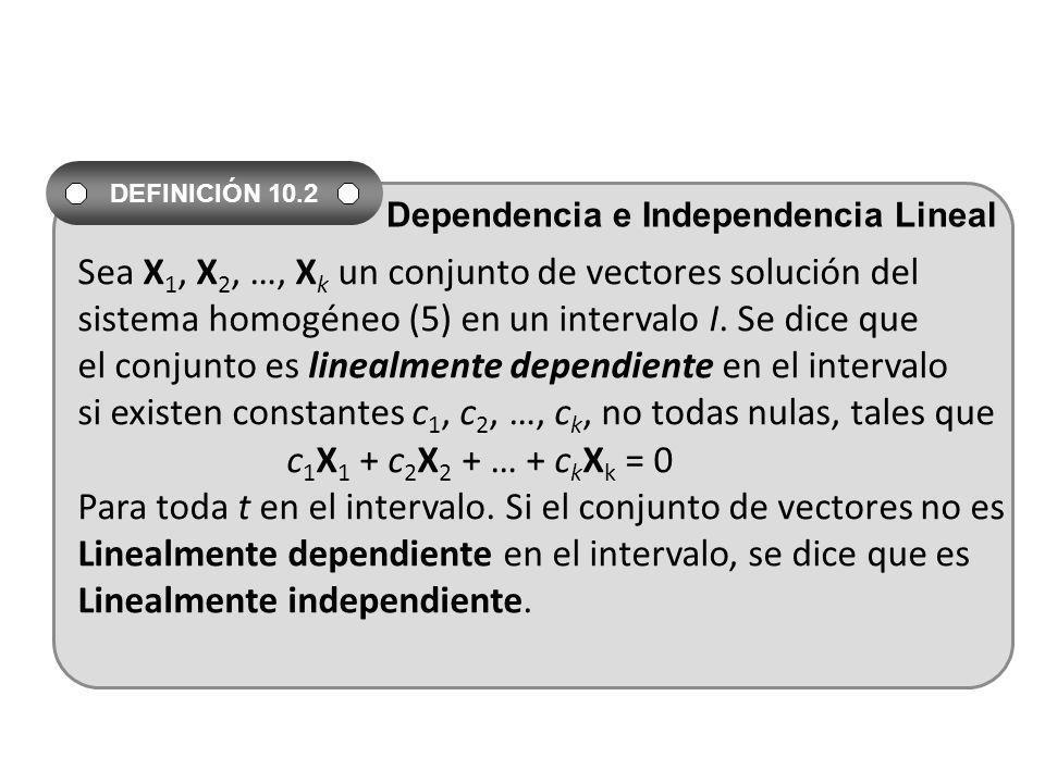 Sea X 1, X 2, …, X k un conjunto de vectores solución del sistema homogéneo (5) en un intervalo I. Se dice que el conjunto es linealmente dependiente