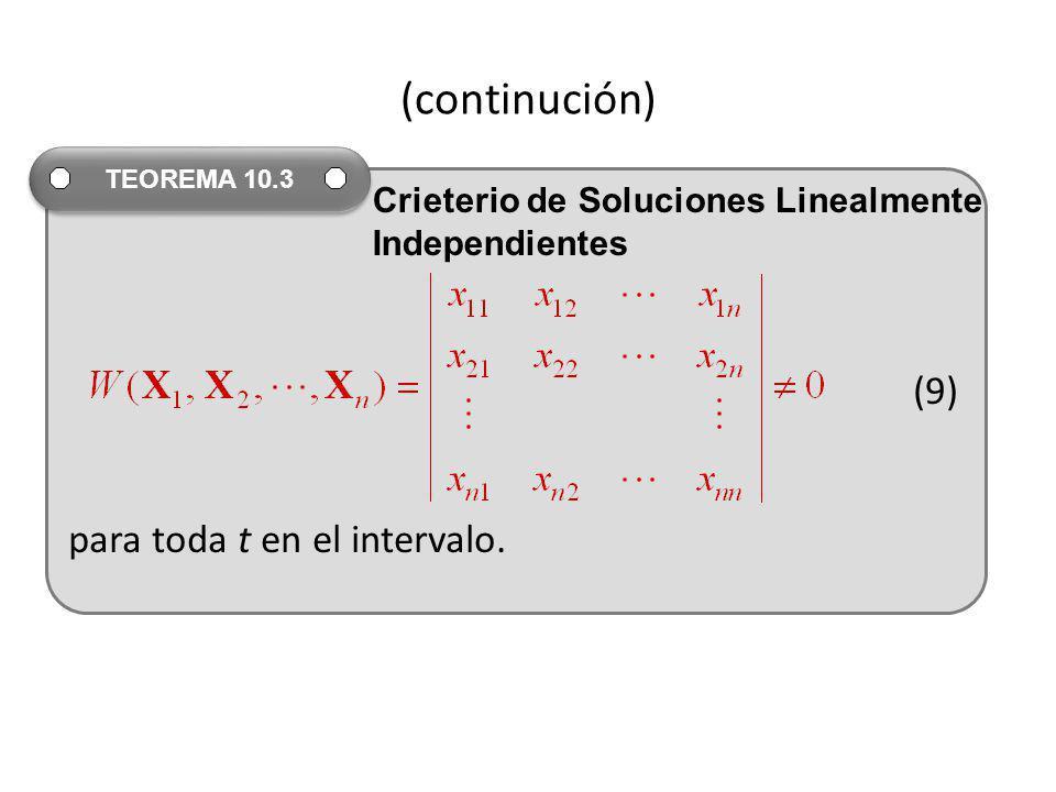 (continución) (9) para toda t en el intervalo. TEOREMA 10.3 Crieterio de Soluciones Linealmente Independientes