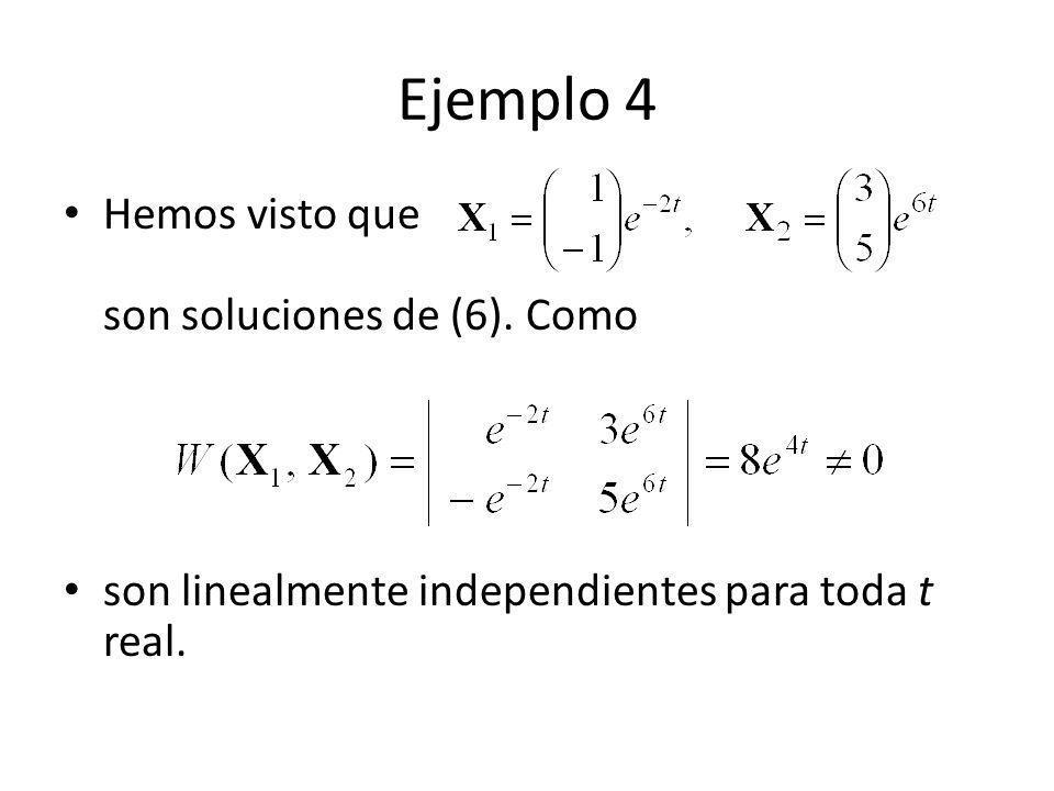 Ejemplo 4 Hemos visto que son soluciones de (6). Como son linealmente independientes para toda t real.