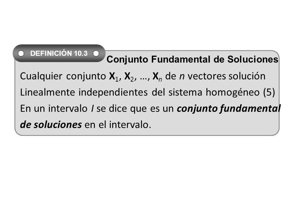 Cualquier conjunto X 1, X 2, …, X n de n vectores solución Linealmente independientes del sistema homogéneo (5) En un intervalo I se dice que es un co