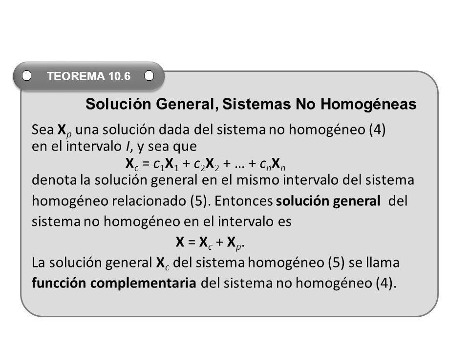 Sea X p una solución dada del sistema no homogéneo (4) en el intervalo I, y sea que X c = c 1 X 1 + c 2 X 2 + … + c n X n denota la solución general e