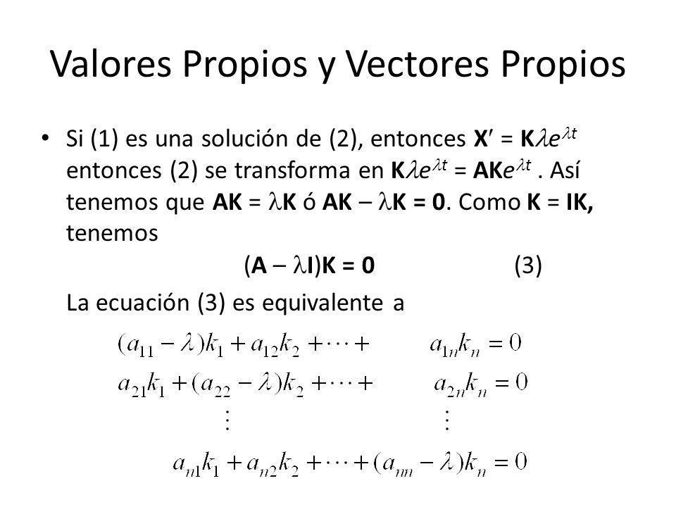 Valores Propios y Vectores Propios Si (1) es una solución de (2), entonces X = K e t entonces (2) se transforma en K e t = AKe t. Así tenemos que AK =