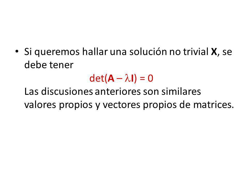 Si queremos hallar una solución no trivial X, se debe tener det(A – I) = 0 Las discusiones anteriores son similares valores propios y vectores propios