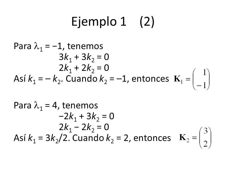 Ejemplo 1 (2) Para 1 = 1, tenemos 3k 1 + 3k 2 = 0 2k 1 + 2k 2 = 0 Así k 1 = – k 2. Cuando k 2 = –1, entonces Para 1 = 4, tenemos 2k 1 + 3k 2 = 0 2k 1