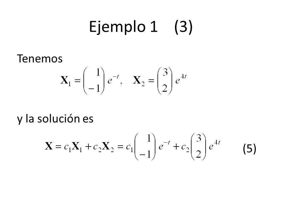 Ejemplo 1 (3) Tenemos y la solución es (5)