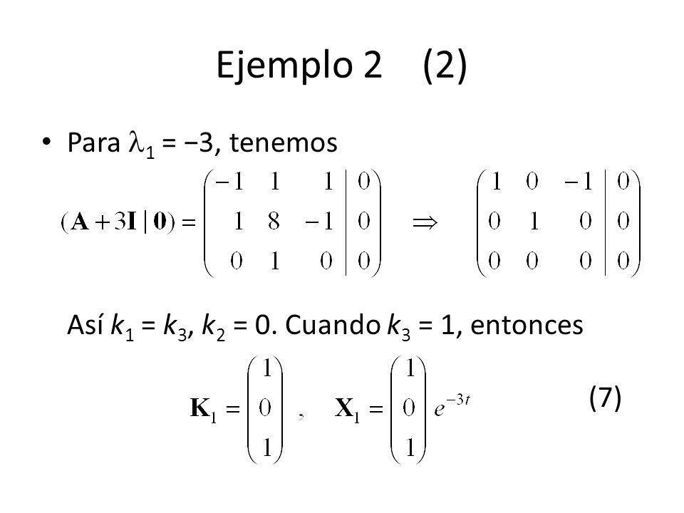 Ejemplo 2 (2) Para 1 = 3, tenemos Así k 1 = k 3, k 2 = 0. Cuando k 3 = 1, entonces (7)