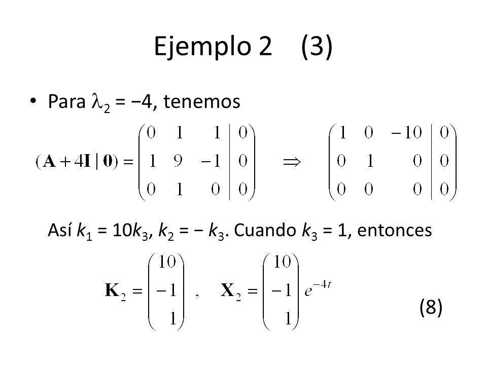 Ejemplo 2 (3) Para 2 = 4, tenemos Así k 1 = 10k 3, k 2 = k 3. Cuando k 3 = 1, entonces (8)