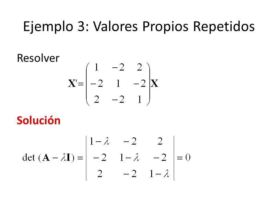 Ejemplo 3: Valores Propios Repetidos Resolver Solución